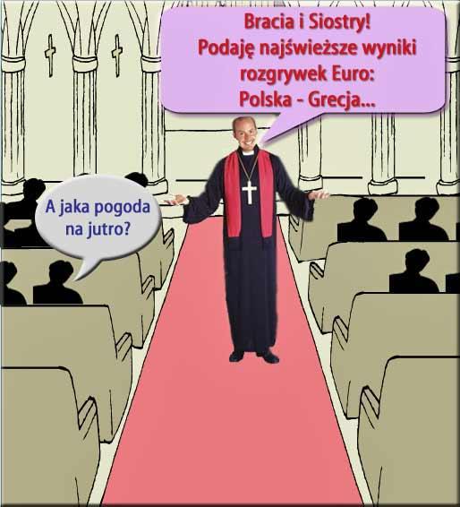 Wyniki Euro podawane będą podczas ogłoszeń parafialnych w łódzkich kościołach (ilustr. Nacho; wykorzyst. ilustr. ze stron spirithalloween.com/ToonDoo)