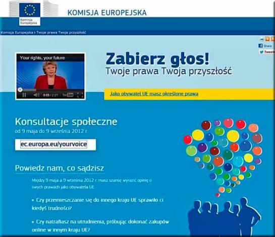 strona Komisji Europejskiej zachęcająca do ankiety (zrzut: Nacho)