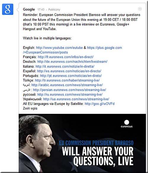 Ogłoszenie z Google+ o publicznym spotkaniu z prezydentem Barroso (ilustr. Nacho)