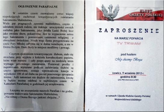 Ogłoszenia w gablocie kościoła przy ul. Sienkiewicza w Łodzi (fot. Nacho)