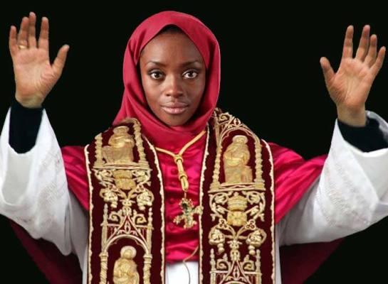 Kobieta - papież? (ilustr. Nacho; wykorzyst. zdj. z wisegeek.org i feministing.com)