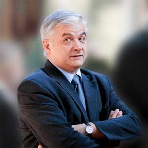 Włodzimierz Cimoszewicz (ilustr. Nacho; wykorzyst. zdj. Marcin Onufryjuk - Agencja Gazeta)
